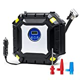 Wonyered Digital Tyre Inflator Portable 12V DC Auto Air Compressor LED Light Pump with 3M Cable for Car, Truck, Bicycle or Basketball
