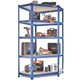 VonHaus 5 Tier Corner Racking/Garage Shelving Heavy Duty Industrial Steel & MDF Boltless Shelves - 875kg Capacity/175KG Per Shelf in a Powdered Blue | 180cm Height