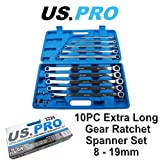 US PRO 10pc Extra Long Double Ring Single Gear Ratchet Spanner Wrench Set 8 - 19mm 3224