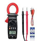 Crenova 6016A Clamp Tester Auto-Ranging Ohm Volt Amp Diode Continuity Temperature Measurements, Professional AC Current Multi Meter, Large LCD Display, Electronic Measuring Instrument