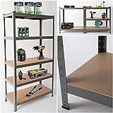 Heavy Duty Steel 5 Tier Racking & Storage Shelves or Workbench - Large 875kg Capacity (Grey)