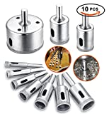 Diamond Drill Bit, Hole Saw Drill Bits Tools Set for Glass/Tile/Ceramic/Marble/Porcelain Cutting, Hollow Core Drill Bits Cutter with Diamond Coating, Carbon Steel 8mm-50mm 10 PCS