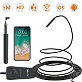 ROTEK Wireless Endoscope,1080P WiFi Inspection Camera 2.0MP HD IP68 Waterproof Borescope Semi-rigid Snake Camera with 8 LED Lights for iPhone iPad Samsung Android Phone, Tablet - 5 Meter