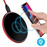 Wireless charger, Lightning Port Input Interface, ICONFLANG 5W Ultra-slim [QI] Wireless Charging Pad for Samsung Galaxy S9/S9 Plus, S7/S7 Edge, S8/S8 Plus, S6/S6 Edge/S6 Edge Plus, Note 5 and Other Qi-Enabled Devices (Rouge Red)