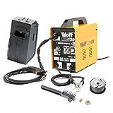 Wolf MIG130 Portable Turbo Mig Welder 230v DC No Gas Welding - Incs Mini Spool Flux Cored Mig Wire, 0.6/0.8 Roller, Tips - 2 Year Warranty