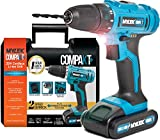 MYLEK 20V Cordless Li-ion Drill with LED Work Light & 1 Hour Quick Charge Battery - 13 Piece Accessory Kit with Carry Case - Forward / Reverse, Variable Speed & Quick Stop Function