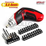 Apollo 3.6V 1300mAh Lithium-ion Battery Cordless 4-LED Power Screwdriver & 26 Piece Accessory Insert & Wood Drill Bit Set for DIY Screwdriving, Repairs, Assembly in the Home, Office, and Workplace