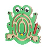FALAIDUO Kids Magnetic Maze Toys Kids Wooden Game Toy Wooden Intellectual Jigsaw Board Educational Toys Gifts (A)