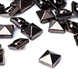 Weddecor 7mm Gunmetal Square Pyramid Rivets Studs - for Leather Craft, DIY Projects, Bags, Belt, Shoe Decorative Clothing, Jeans (Pack of 100)
