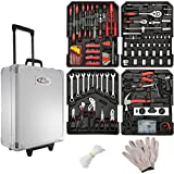 TecTake 599 Pcs Aluminium metal tool box kit set storage trolley | Clear overview over 4 levels | All tools in an ergonomic design for a perfect feel and optimal force transfer