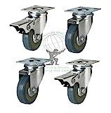 Heavy Duty GREY RUBBER castor 50mm,2 inch, Castors / Caster Wheels 2 x swivel, 2 x brake, Load capacity 100kg per set