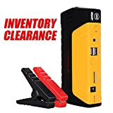 Portable Car Jump Starter 400A Peak 8000mAh, PUSHIDUN Battery Booster Pack & Charger for 12V Car 3.0L Gas Engine with Emergency Blade & Hammer and Built-In Flashlight Phone Power Bank
