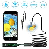 WIFI Endoscope 8mm NASUM 3 in 1 Waterproof Chargable Inspection Camera 1200P HD Camera with 8 LED Lights and 3.5M Semi-Rigid Snake Cable USB Adapter for Smartphone,Tablet,PC,Android/IOS,Windows/Mac