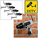 Tooltime 4 x Realistic Dummy Security Camera with Motion Sensor Activated Panning Movement and Flashing LED Light