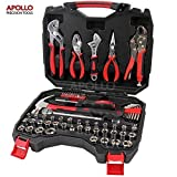 Apollo Precision Tools 80 Piece Trade Professional Household and Garage Tool Kit including Water Pump, Locking, Slip Joint and Long Nose Pliers Set, Adjustable Wrench, 3/8 Inch Ratchet Drive Handle and Metric and SAE Socket in Heavy Duty Case
