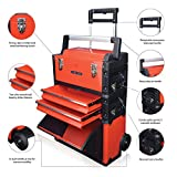 US PRO Tools Red Work Center Plastic Steel Mobile Rolling Chest Trolley Cart cabinet 3 IN 1 Tool Box Wheels