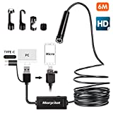 morpilot 3 in 1 USB Endoscope, 16.4Ft Semi-rigid Inspection Camera - 2.0 Megapixels HD Borescope Snake Camera for Android Smartphone, Tablet Type-c/Micro/USB Available