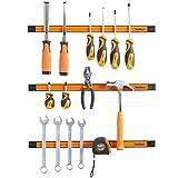 VonHaus Set of 3x 18' Large Magnetic Strip Rail Bar Tool Spanner / Wrench / Chisel / Screwdriver Holder Rack Set – Garage WorkShop Essential - Does not include tools