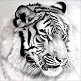 DIY 5D Diamond Painting, Crystal Rhinestone Embroidery Pictures Arts Craft for Home Wall Decor Black White Tiger 11.8 x 11.8