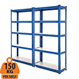 2 Bay Heavy Duty Steel Shelving Garage Racking Unit 150kg per shelf (5 Levels 1500mm H x 750mm W x 300mm D) + FREE NEXT DAY DELIVERY
