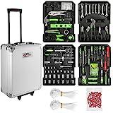 TecTake 699 Pcs Aluminium metal tool box kit set storage trolley | smooth wheels | filled with tools