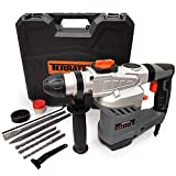 Terratek 1500W Rotary Hammer Drill SDS, Heavy Duty Impact Drill Complete with 5pc Drill Bit & Chisel Set