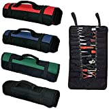 38 Pockets Tool Roll Tools Bag Plier Wrench Pouch Multi-Purpose Fold Up Portable Carry Heavy Duty Canvas Tote Electricians Garden Tools Organizer Black GJB01