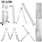 Luisladders Folding Ladder 15.5 Feet Aluminium Multi Purpose Extendable Safety Step Ladder Includes 2 Iron Plates Locking Hinges 330 Pound Capacity EN 131 Standard