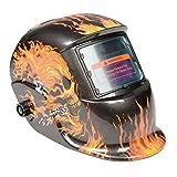 Costway Auto Darkening Welding Helmet Mask Welders Arc Tig Mig Solar Powered W/Grinding (Chain Skull)