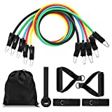Exercise Resistance Band Set,CAMTOA Workout Tubes,Light/Medium/Heavy Elastic Stretch Tubes Cords,Body Building Fitness Equipment Tool,Arms Pull Up Strength Training Band(11Pcs Set) for Indoor and Outdoor Sports,Fitness,Suspension,Speed Strength,Baseball Softball Training,Home Gym,Yoga