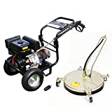 Kiam Driveway Cleaning Pack - Includes: KM3700P 14hp Industrial Petrol Pressure Washer (3700PSI @ 15 Ltr/Min), VT62-420S Stainless Steel Rotary Surface Cleaner, Turbo Nozzle - High Jet Power Driveway Patio Car Block Paving Cleaner