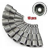 10PCs Magnetic 1/4' Diameter 6mm-19mm Hex Shank Bit Socket Magnetic Nut Driver Set Power Drill Bit Tool