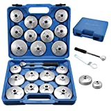 AllRight 23PC Aluminum Alloy Cup Type Oil Filter Wrench Set Wrench Socket Removal Garage Tool