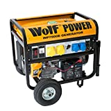 Wolf WP7500E 7000 Watt 15HP 8.75KVA Electric Start 4 Stroke Portable Petrol Generator Heavy Duty Copper Alternator - Includes Dual Voltage 110v & 240v - 2 YEAR WARRANTY