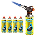 Bond Hardware Blow Torch Butane Gas Kit Cooking Catering Creme Brulee Culinary Tarts Pies Tool + 4 Refills
