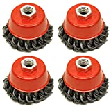 Wire Cup Brush Wheel 3' for 41/2' 115mm Angle Grinder Twist Knot 4 Pack TE243