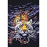 DIY 5D Diamond Painting by Number Kits, Full Drill Crystal Rhinestone Embroidery Pictures Arts Craft for Home Wall Decor Gift,Tigers Cross The River