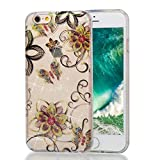 iPhone 6S Plus Bling Case,iPhone 6 Plus Silicone Case,iPhone 6S Plus/iPhone 6 Plus 5.5Inch TPU Case,TOYYM Slim Flexible Silicone TPU Back Protective Case Cover with Creative Bling Pattern Design,Clear Crystal Transparent Bumper Gel Rubber Backcover Case for iPhone 6S Plus/iPhone 6 Plus 5.5Inch,Gold flower