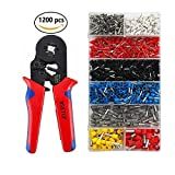 Crimpers Tool,0.25-10mm² Self-adjustable Ratchet Wire Crimping Tools,Ferrule Crimper Plier with 1200 Wire Terminal Crimp Connector Insulated and Uninsulated Wire End Ferrules (Red)