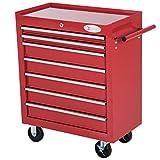 DURHAND Roller Tool Cabinet Storage Chest Box 7 Drawers Roll Wheels Garage Workshop Red