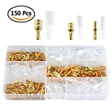 ATPWONZ 150packs Female Spade Crimp Terminal Cable Connector With Insulating Sleeve Assortment Kit (2.8mm 4.8mm 6.3mm)