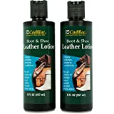 Cadillac Boot and Shoe Leather Conditioner and Cleaner Lotion 8 oz (2 Pack) - Conditions, Cleans, Polishes & Protects All Colors of Leather - Great for Footwear, Furniture, Handbags, Jackets & More