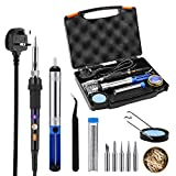 Soldering Iron, Tacklife SKY47AC Soldering Iron Kit 60W Temperature Adjustable Welding Iron with Brass Wire Cleaner, 6pcs Tips, Desoldering Pump, Stand with Sponge and Tin Solder Wire