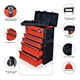 US PRO Tools Red Work center Workshop Plastic Steel Mobile Rolling Chest Trolley Cart Storage cabinet Tool Box