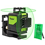 Self-leveling Semi Professional Laser Level - Huepar 902CG Green Beam Cross Lines Laser 360-Degree Coverage Horizontal Line and Vertical Line Coming with Magnetic Pivoting Base, Pulse Modes Allow Use with Laser Target