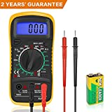 Digital Multimeter Voltmeter Ammeter Ohmmeter with Test Leads Battery Circuit Multi Tester DC AC Voltage Current Resistance Diodes Transistor Electrical Tester Backlight LCD Audible Continuity Measuring Meter
