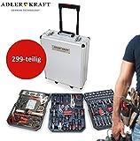 Eagle Force 299Piece Aluminium Toolbox Trolley Tool Box, Tool Trolley with Tool Filled Professional} 3Levels | Telescopic Handle Set | Aluminium Wheeled Hard Case
