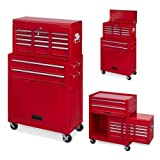 Powerplus Red Locakable 8 Drawer Steel Combination Mechanics Heavy Duty Tool Chest & Cabinet with Top Box on Wheels With Security Lock and 2 Keys Plus Steel Security Bars KRT653002
