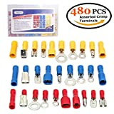 KalorK 480PCS 12-Size Assorted Insulated Electrical Wire Tube Terminals Kit Crimp Tool Connectors Spade Ring Fork Butt Set with Box