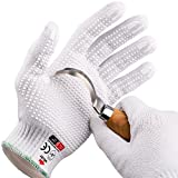 NoCry Cut Resistant Protective Work Gloves with Rubber Grip Dots. Tough and Durable Stainless Steel Material, EN388 Certified. 1 Pair. White, Size Small